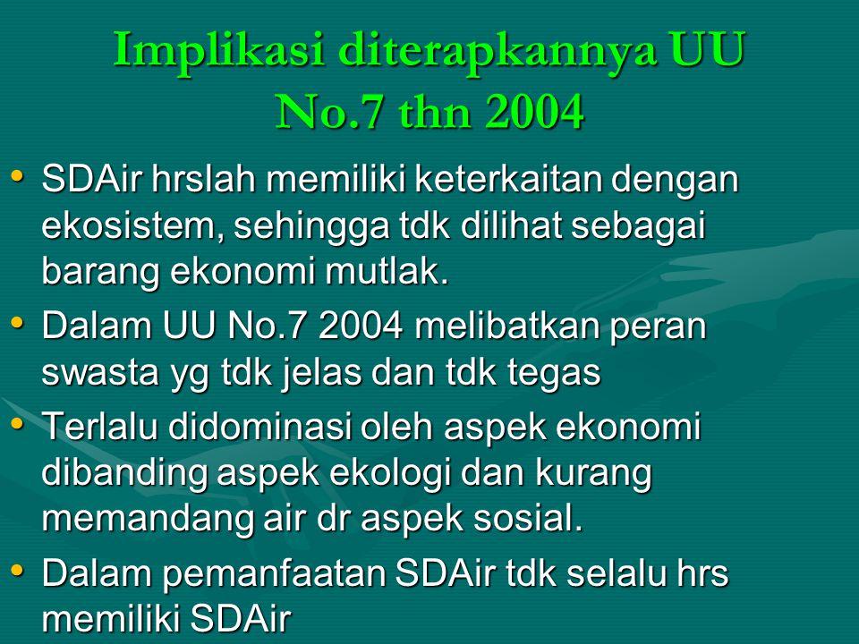 Implikasi diterapkannya UU No.7 thn 2004
