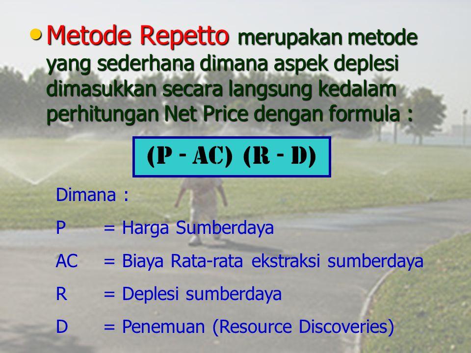 Metode Repetto merupakan metode yang sederhana dimana aspek deplesi dimasukkan secara langsung kedalam perhitungan Net Price dengan formula :