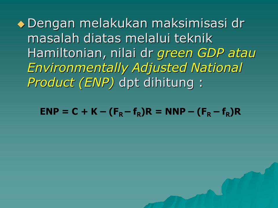 Dengan melakukan maksimisasi dr masalah diatas melalui teknik Hamiltonian, nilai dr green GDP atau Environmentally Adjusted National Product (ENP) dpt dihitung :