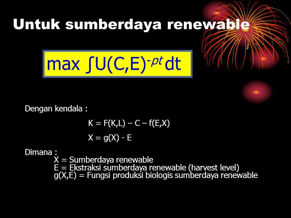 Untuk sumberdaya renewable
