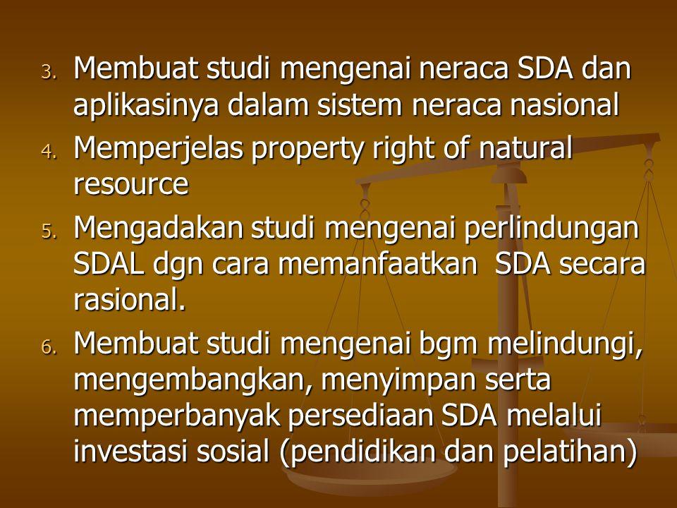 Membuat studi mengenai neraca SDA dan aplikasinya dalam sistem neraca nasional