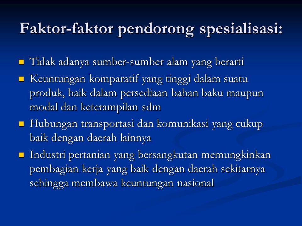 Faktor-faktor pendorong spesialisasi: