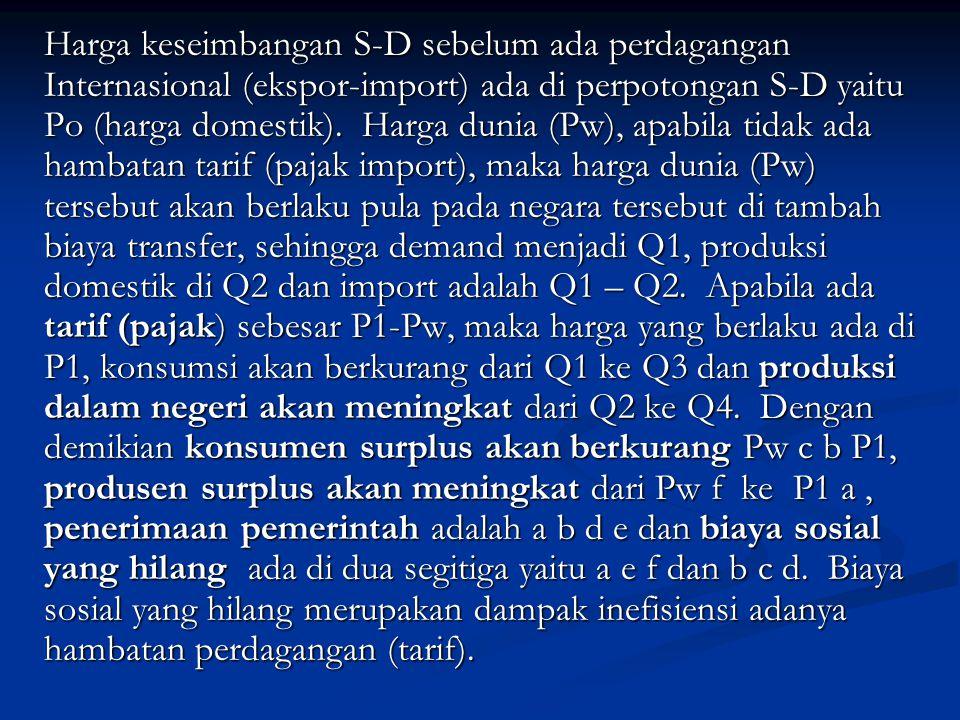 Harga keseimbangan S-D sebelum ada perdagangan Internasional (ekspor-import) ada di perpotongan S-D yaitu Po (harga domestik).