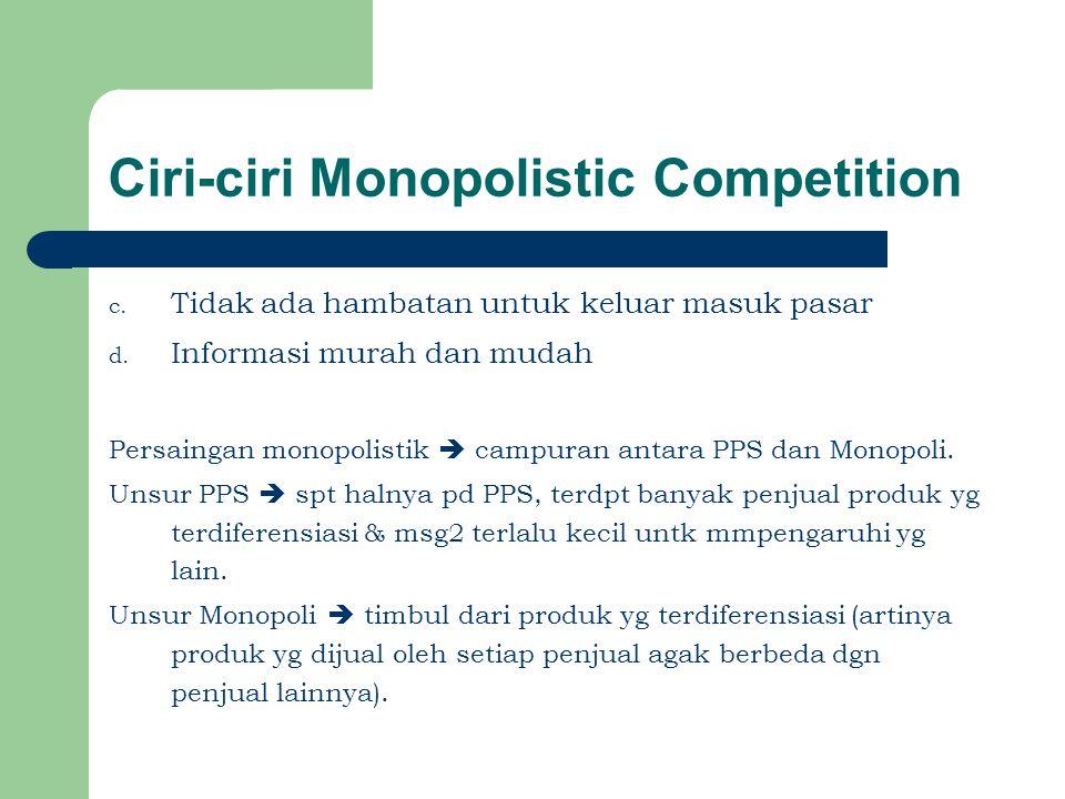 Ciri-ciri Monopolistic Competition