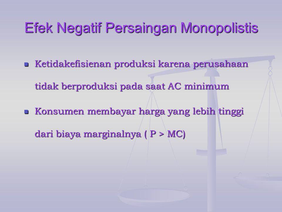 Efek Negatif Persaingan Monopolistis