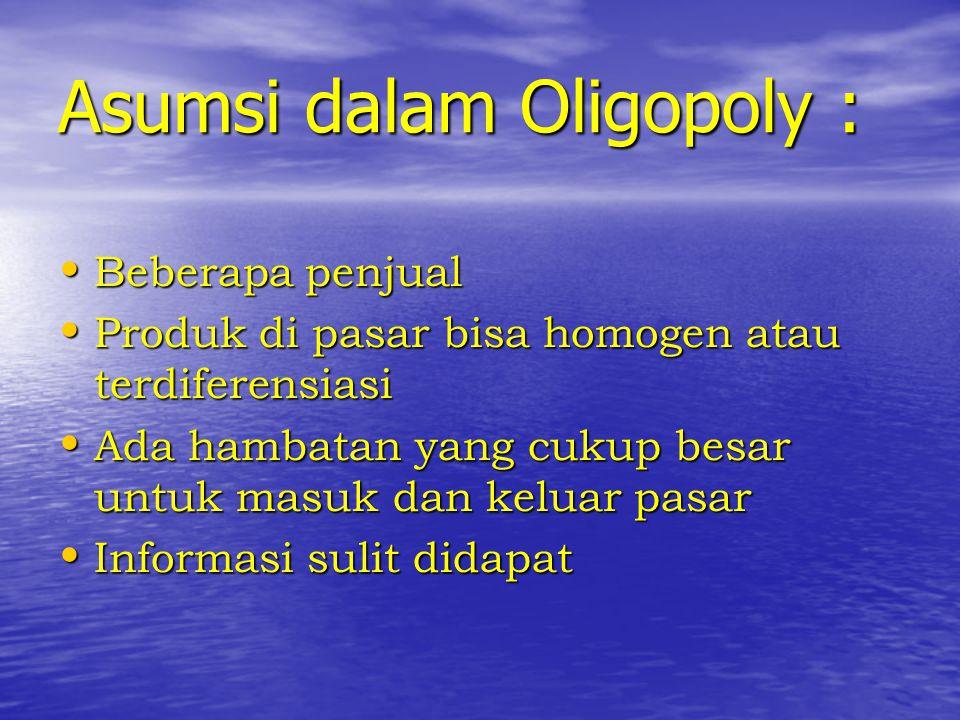 Asumsi dalam Oligopoly :