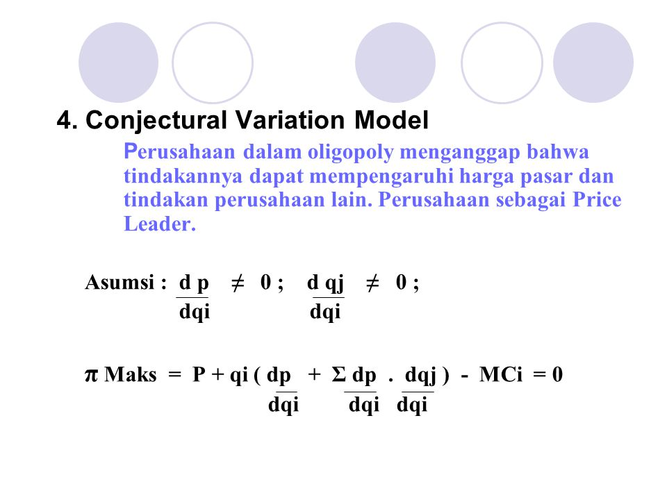 4. Conjectural Variation Model