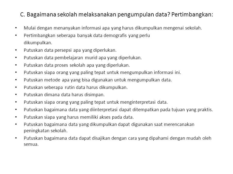 C. Bagaimana sekolah melaksanakan pengumpulan data Pertimbangkan: