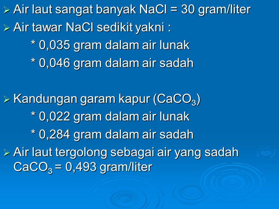 Air laut sangat banyak NaCl = 30 gram/liter