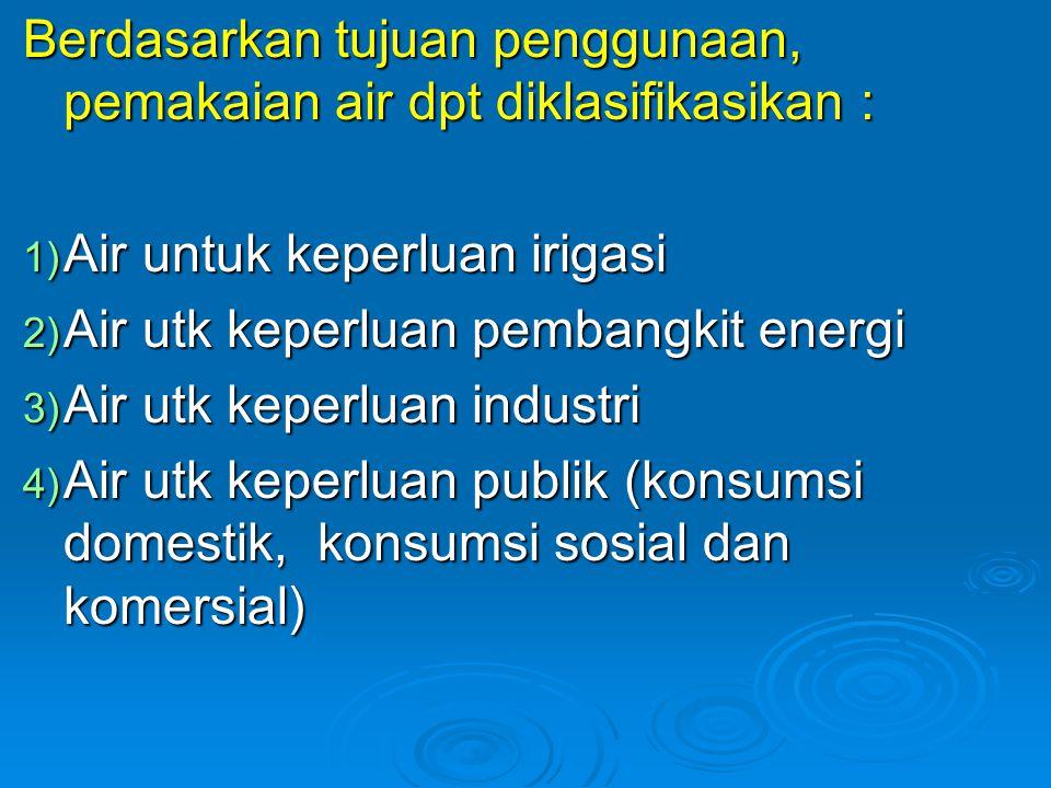 Berdasarkan tujuan penggunaan, pemakaian air dpt diklasifikasikan :