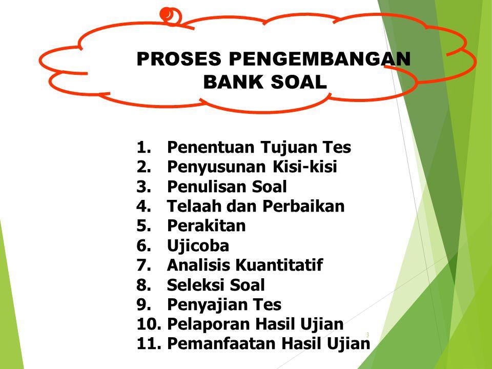 PROSES PENGEMBANGAN BANK SOAL 1. Penentuan Tujuan Tes