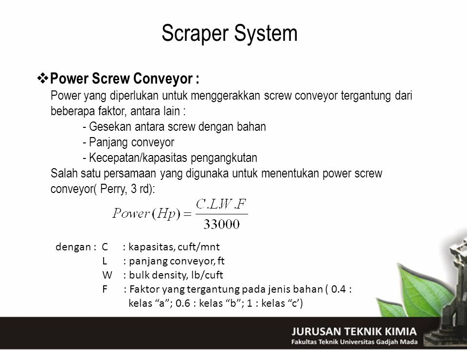 Scraper System Power Screw Conveyor :