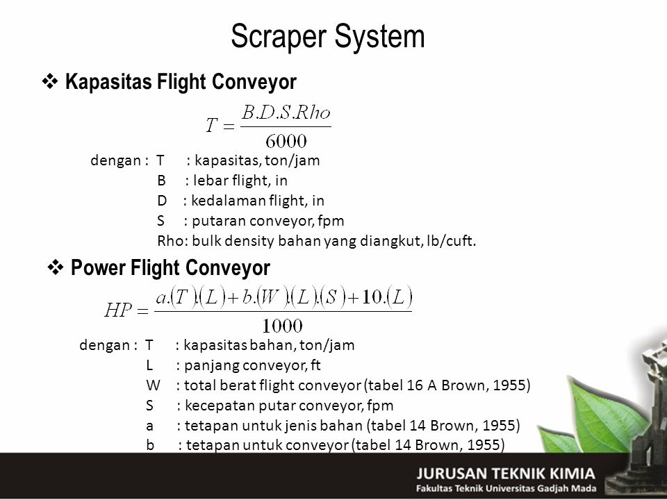 Scraper System Kapasitas Flight Conveyor Power Flight Conveyor