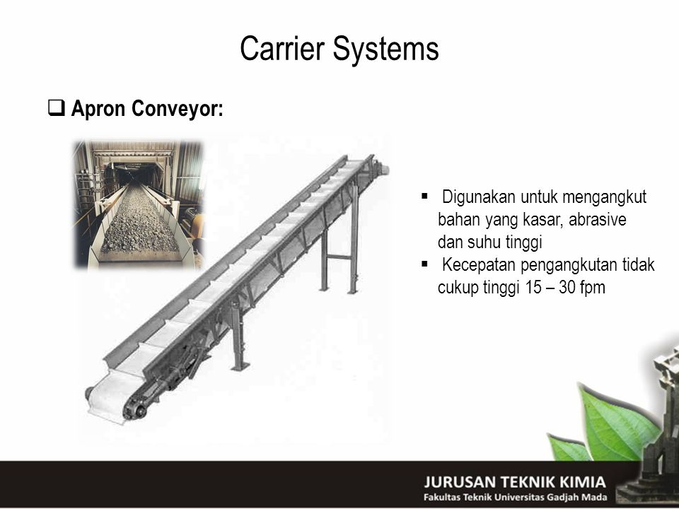 Carrier Systems Apron Conveyor: