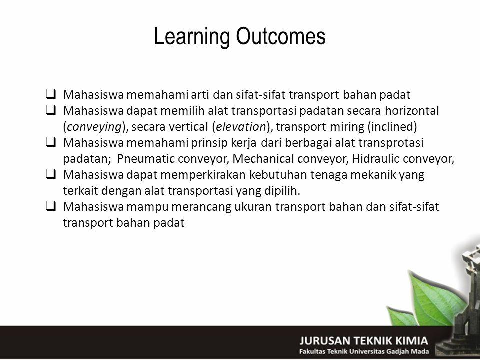 Learning Outcomes Mahasiswa memahami arti dan sifat-sifat transport bahan padat.