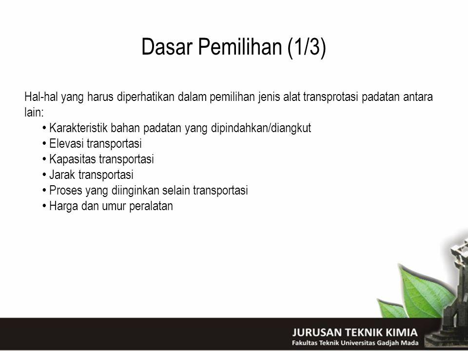 Dasar Pemilihan (1/3) Hal-hal yang harus diperhatikan dalam pemilihan jenis alat transprotasi padatan antara lain: