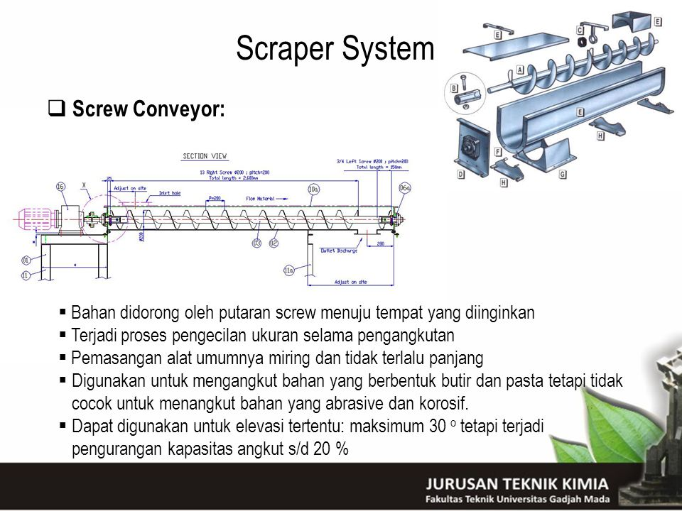 Scraper System Screw Conveyor: