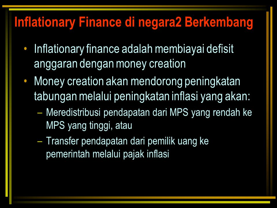 Inflationary Finance di negara2 Berkembang