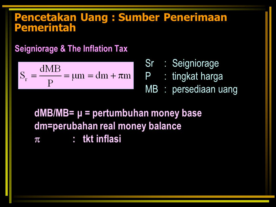 inflation and real money balance