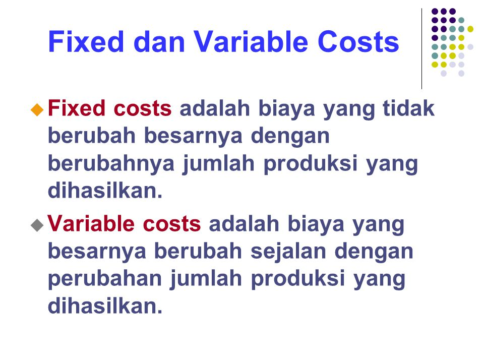 Fixed dan Variable Costs