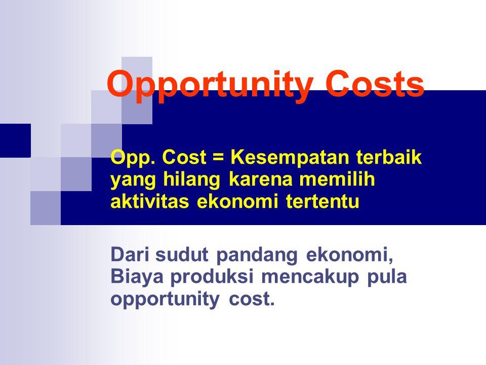 Opportunity Costs Opp. Cost = Kesempatan terbaik yang hilang karena memilih aktivitas ekonomi tertentu.
