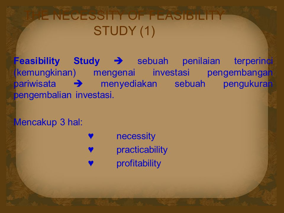 THE NECESSITY OF FEASIBILITY STUDY (1)