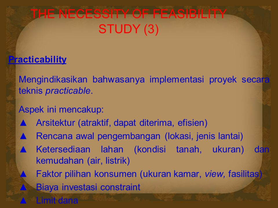 THE NECESSITY OF FEASIBILITY STUDY (3)