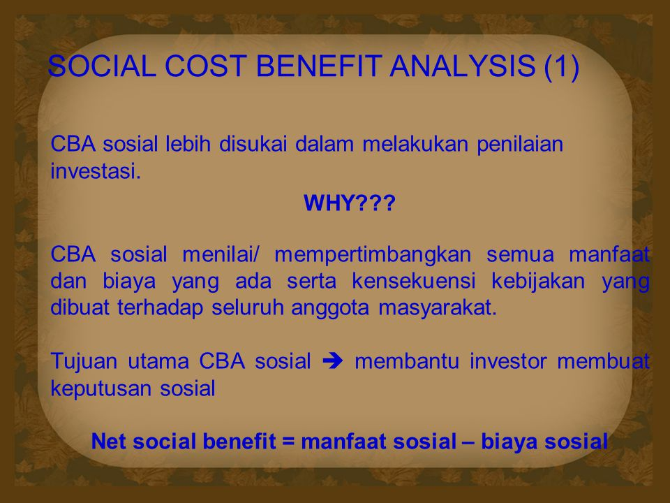 SOCIAL COST BENEFIT ANALYSIS (1)