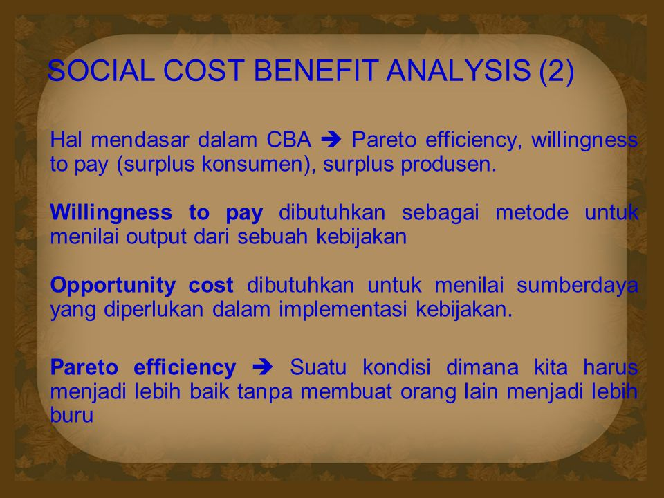 SOCIAL COST BENEFIT ANALYSIS (2)