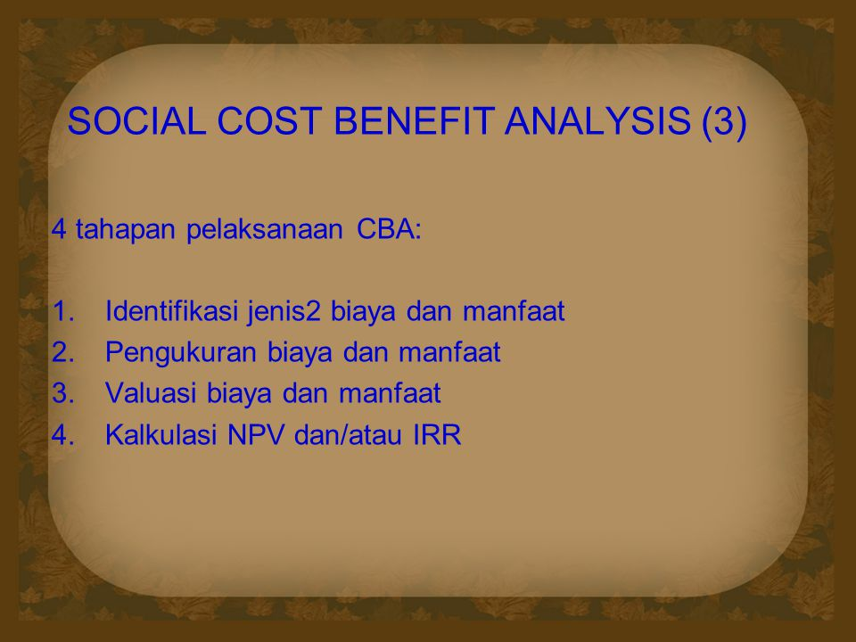 SOCIAL COST BENEFIT ANALYSIS (3)