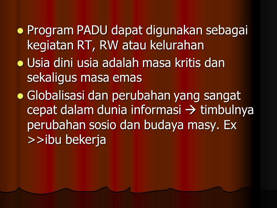 Program PADU dapat digunakan sebagai kegiatan RT, RW atau kelurahan