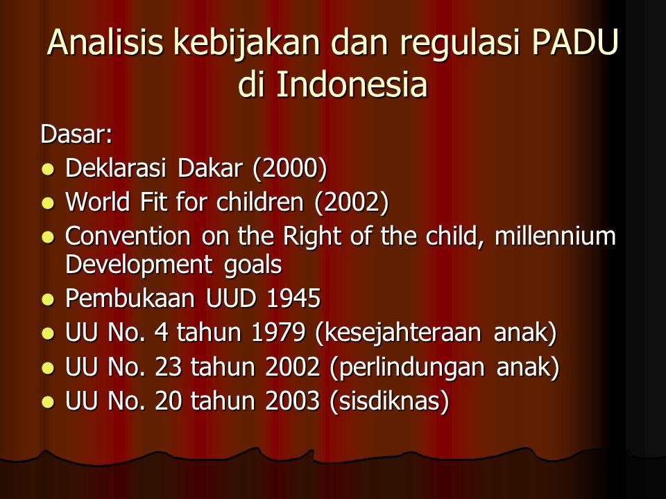 Analisis kebijakan dan regulasi PADU di Indonesia