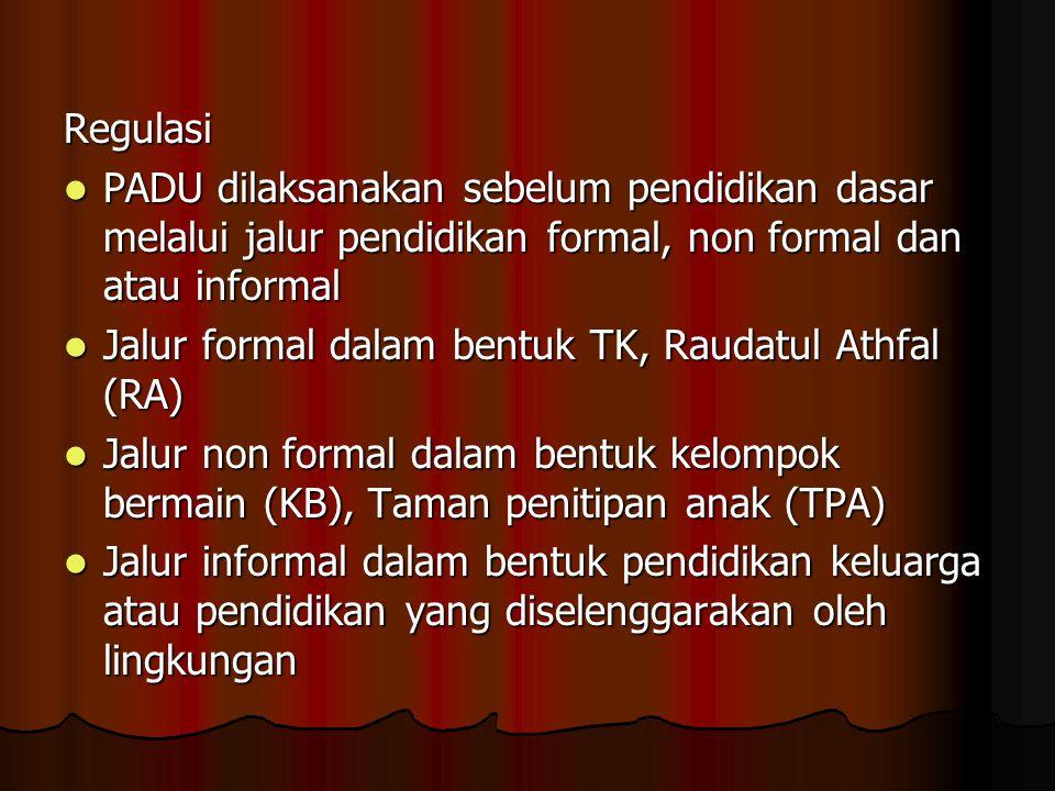Regulasi PADU dilaksanakan sebelum pendidikan dasar melalui jalur pendidikan formal, non formal dan atau informal.