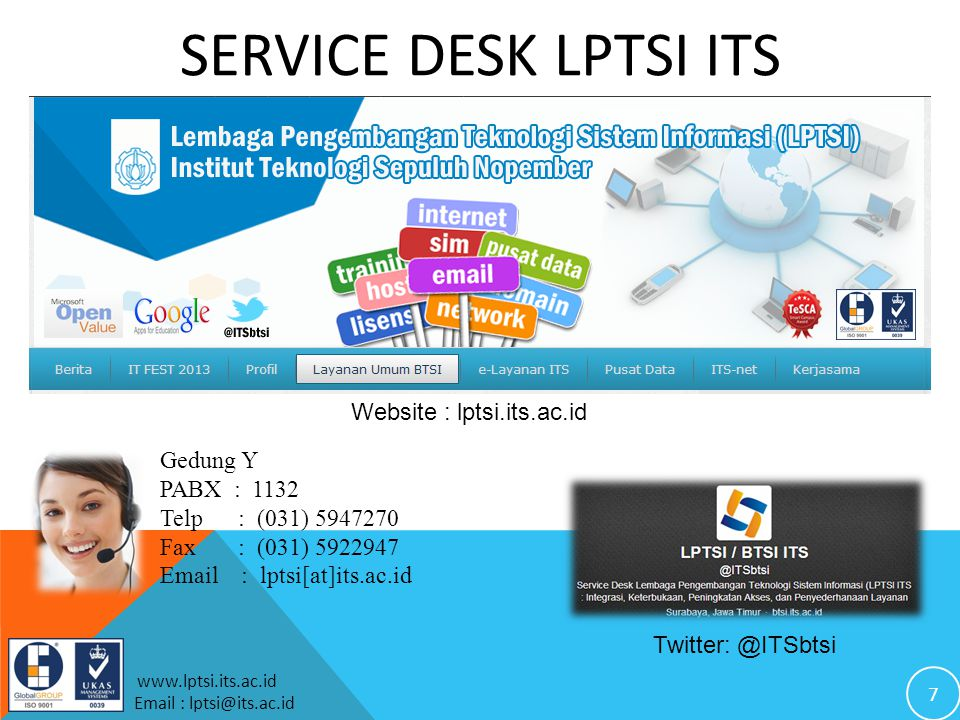 SERVICE DESK LPTSI ITS Website : lptsi.its.ac.id Gedung Y PABX : 1132