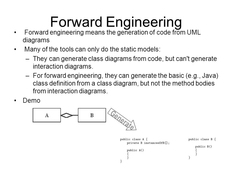 Forward Engineering Generate