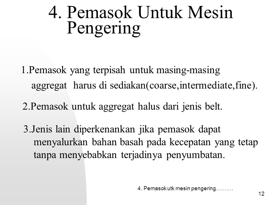 4. Pemasok Untuk Mesin Pengering