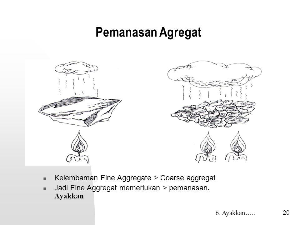 Pemanasan Agregat Kelembaman Fine Aggregate > Coarse aggregat