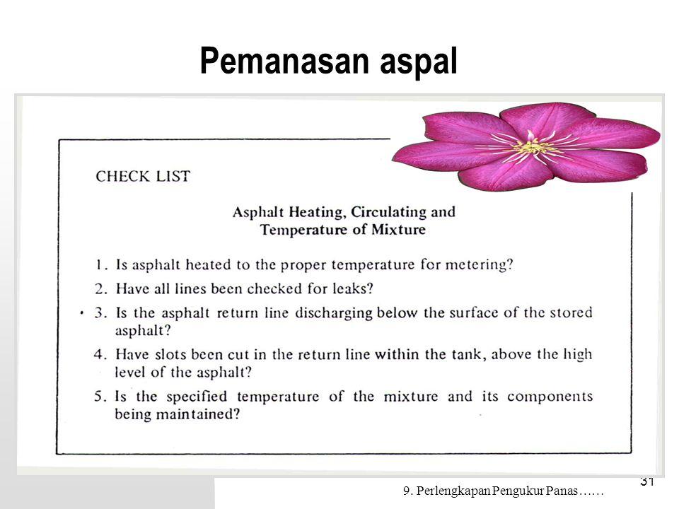 Pemanasan aspal 9. Perlengkapan Pengukur Panas……