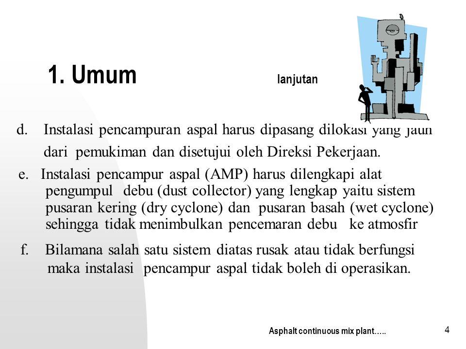1. Umum lanjutan d. Instalasi pencampuran aspal harus dipasang dilokasi yang jauh.