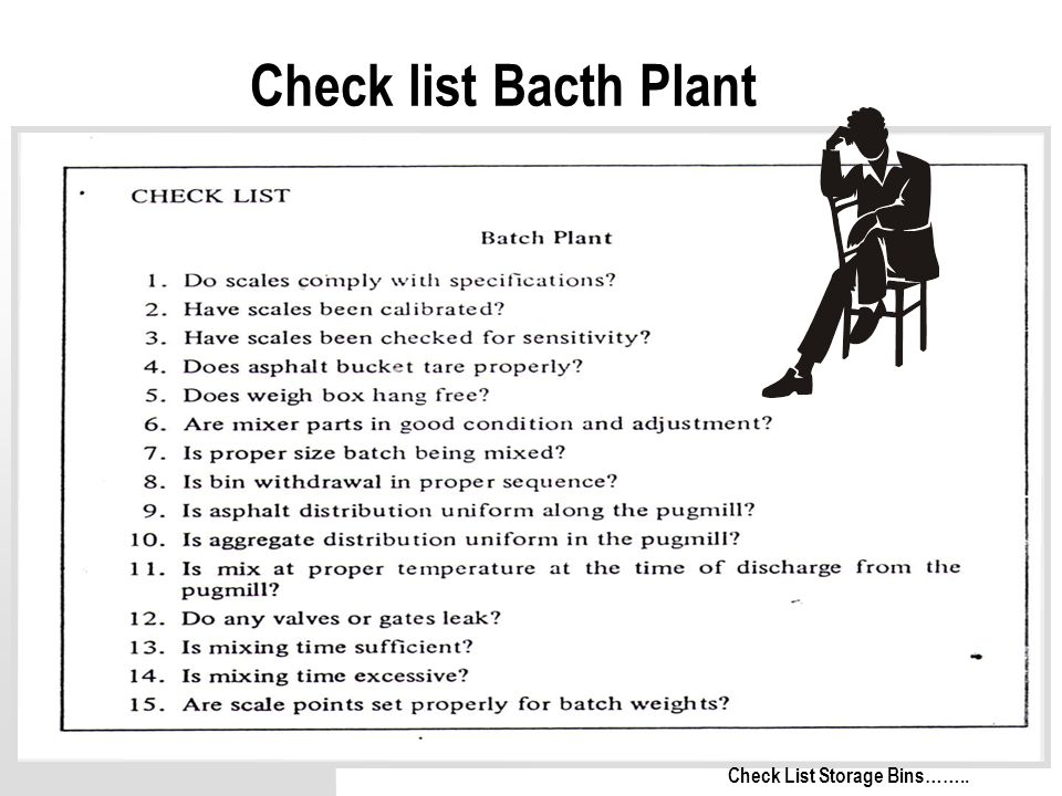 Check list Bacth Plant Check List Storage Bins……..