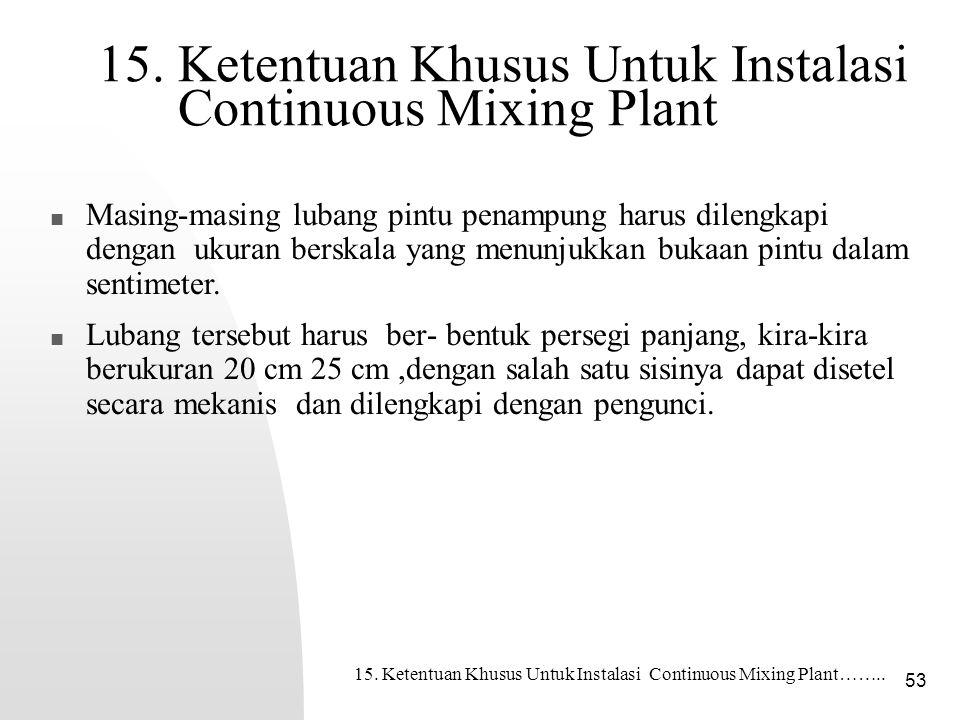 15. Ketentuan Khusus Untuk Instalasi Continuous Mixing Plant