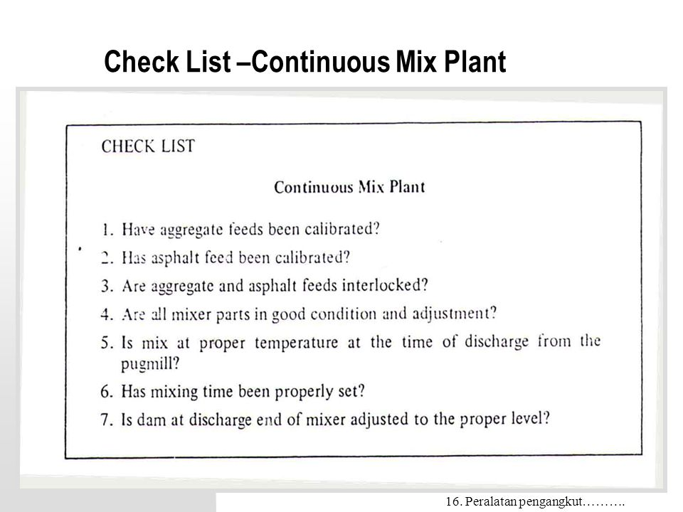 Check List –Continuous Mix Plant