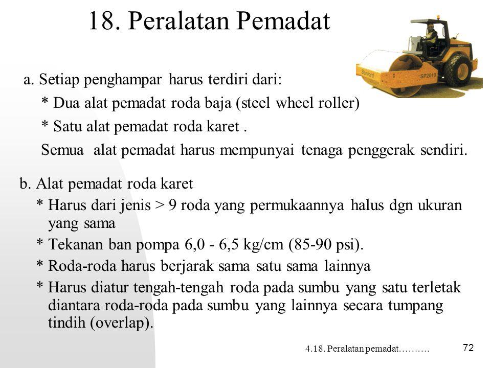18. Peralatan Pemadat a. Setiap penghampar harus terdiri dari: * Dua alat pemadat roda baja (steel wheel roller)