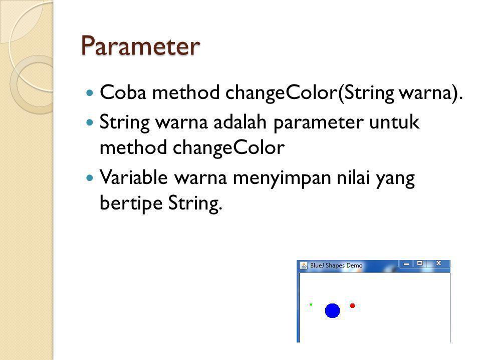 Parameter Coba method changeColor(String warna).