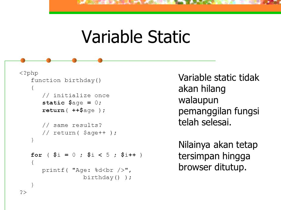 Variable Static