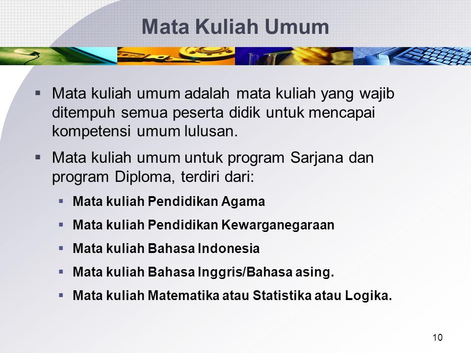 Mata Kuliah Umum Mata kuliah umum adalah mata kuliah yang wajib ditempuh semua peserta didik untuk mencapai kompetensi umum lulusan.
