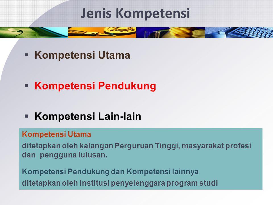 Jenis Kompetensi Kompetensi Utama Kompetensi Pendukung