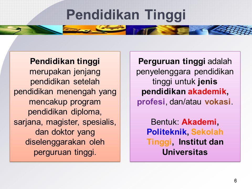 Bentuk: Akademi, Politeknik, Sekolah Tinggi, Institut dan Universitas