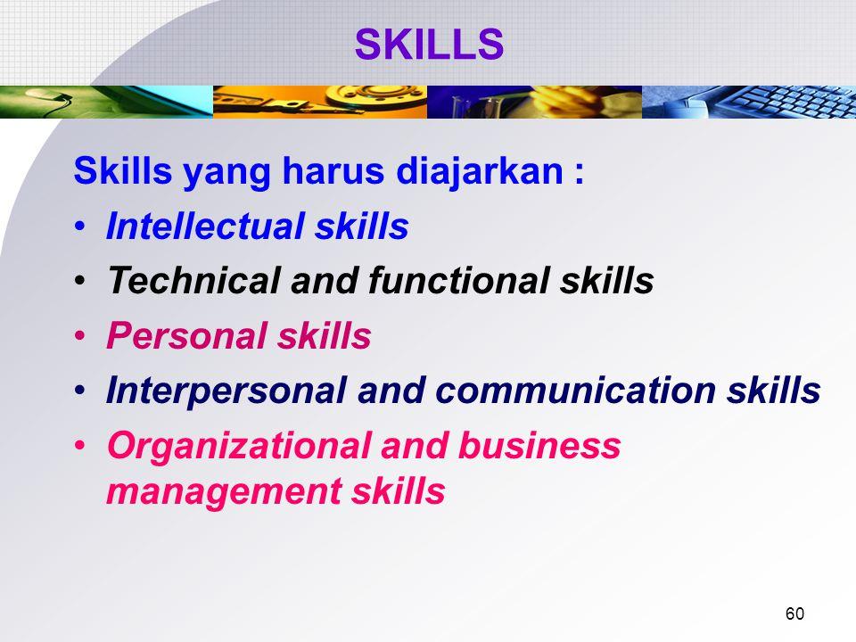 SKILLS Skills yang harus diajarkan : Intellectual skills
