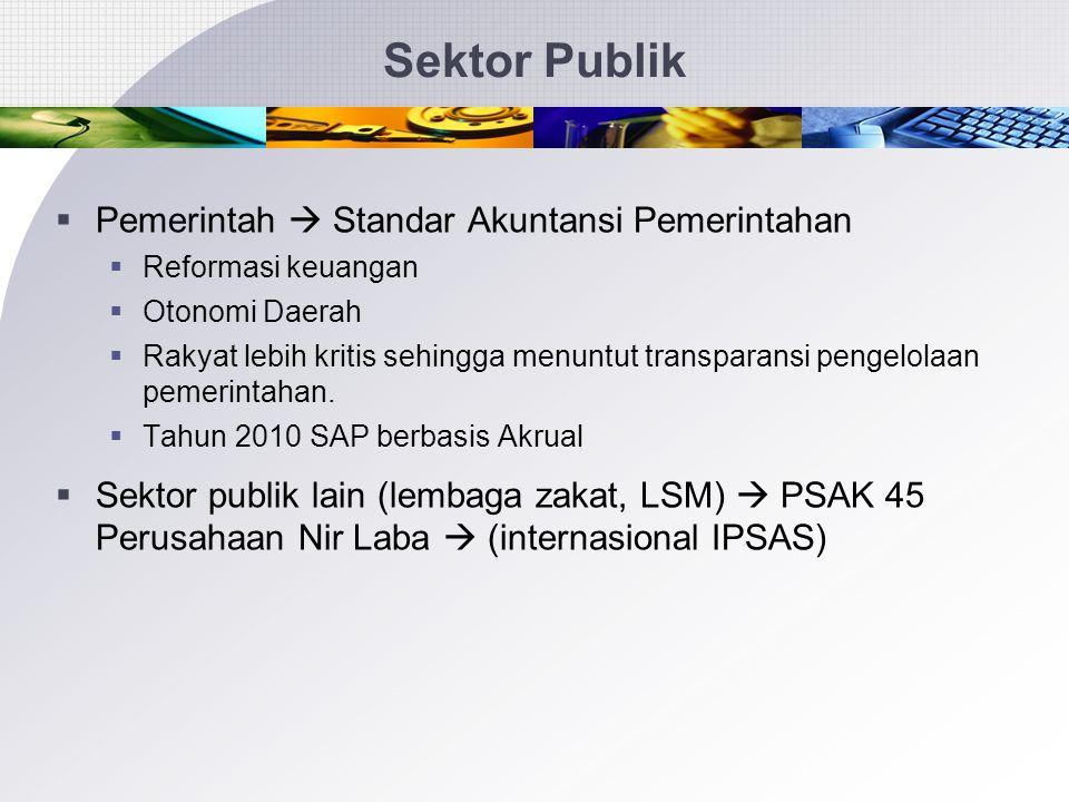 Sektor Publik Pemerintah  Standar Akuntansi Pemerintahan